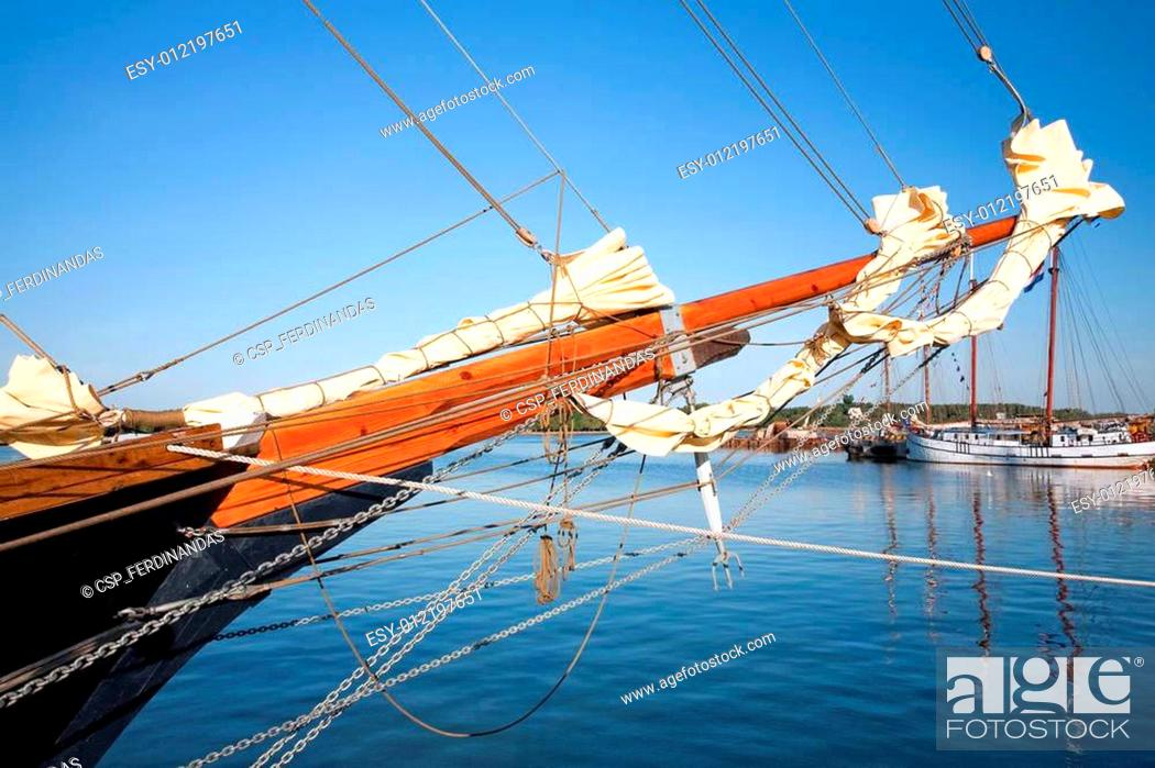 Stock Photo: Tall ships in port.