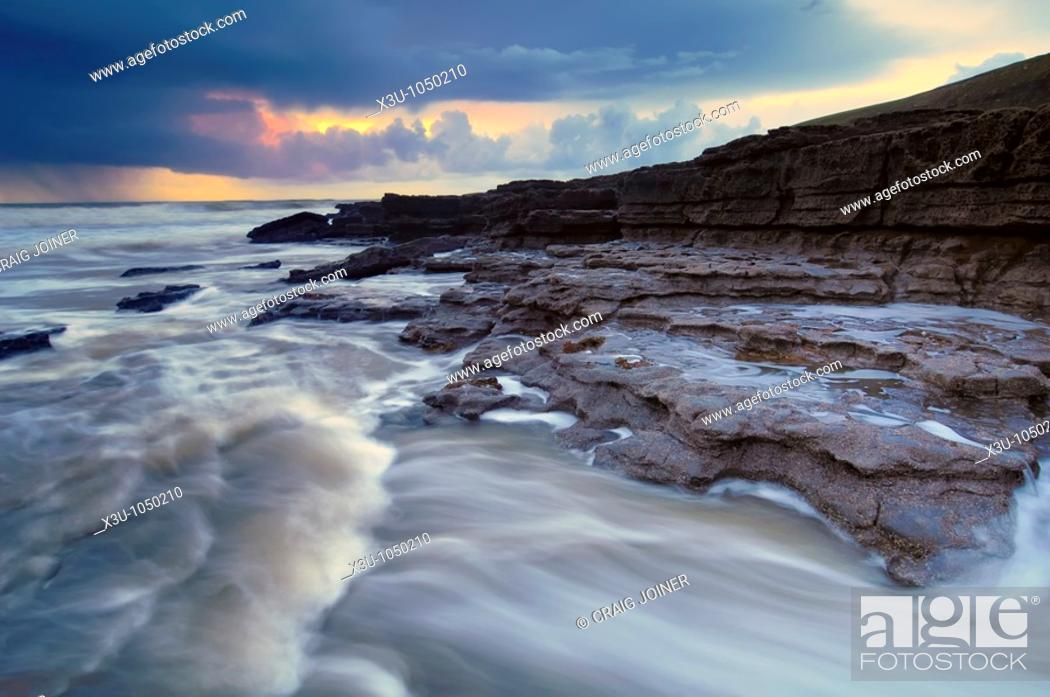 Stock Photo: Storm at Dunraven Bay, Southerndown on the Glamorgan Heritage Coast, Wales.