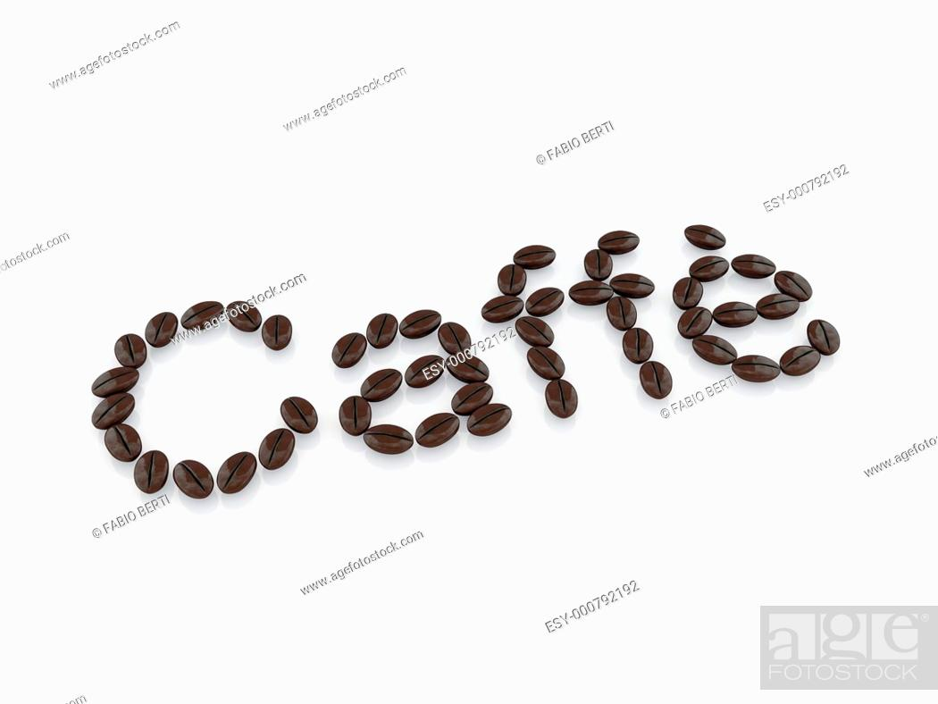 Stock Photo: caffè written with coffee beans.