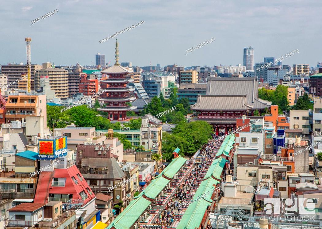 Stock Photo: Japan, Tokyo City, Asakusa, Sensoji Temple and Five story Pagoda.