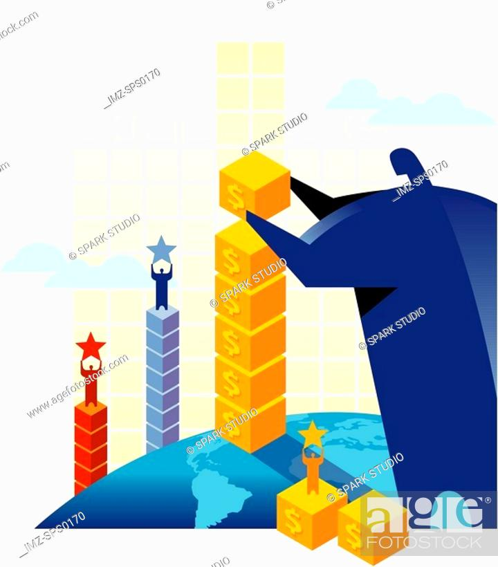 Stock Photo: A man building columns of blocks with men standing on top.