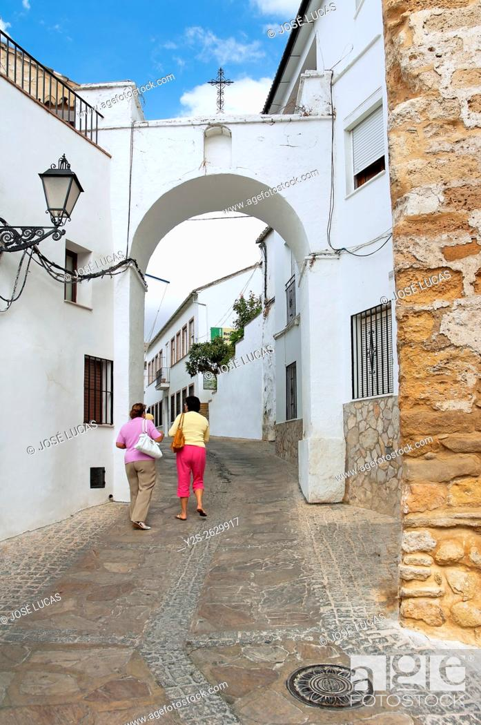 Stock Photo: Typical alley, Setenil de las Bodegas, Cadiz province, Region of Andalusia, Spain, Europe, .