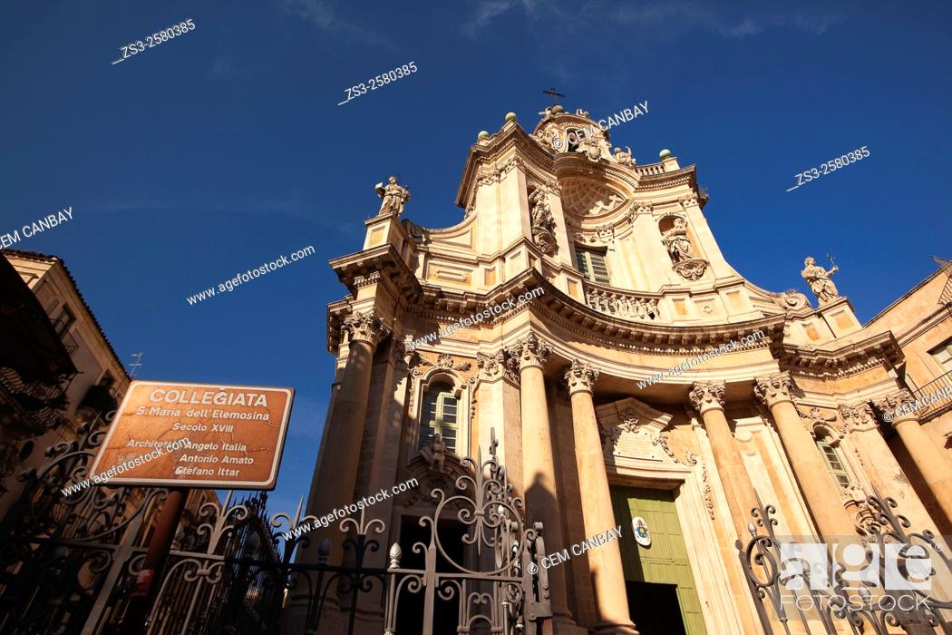Stock Photo: Collegiata S. Maria dell' Elemosina, Catania, Sicily, Italy, Europe.