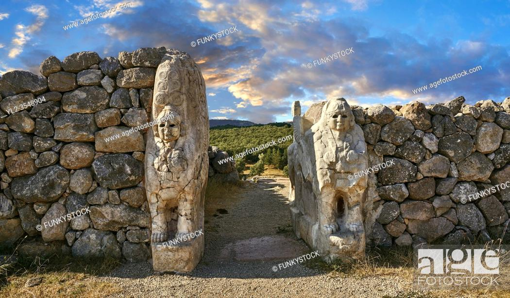 Stock Photo: Picture & image of Hittite Sphinx sculpture of the Sphinx Gate. Hattusa (also Ḫattuša or Hattusas) late Anatolian Bronze Age capital of the Hittite Empire.