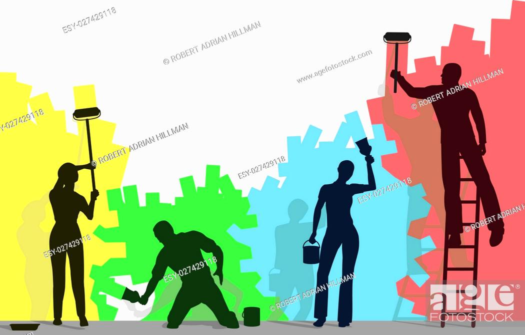 Stock Vector: Editable vector silhouettes of four people painting a blank wall different colors with copy space.
