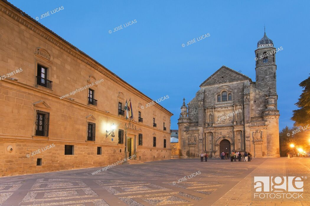 Stock Photo: Church of El Salvador and the palace of Dean Ortega (Parador - Hotel) in the Plaza Vazquez de Molina - 16th century, Ubeda, Jaen province, Region of Andalusia.