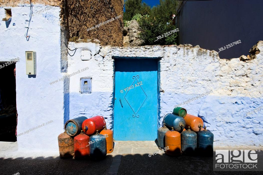 Stock Photo: Morocco, Chefchaouen, gas bottles.