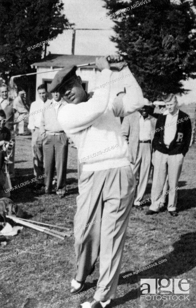 Stock Photo: San Diego, California: 1952 Former world heavyweight boxing champion Joe Louis playing at the PGA sponsored San Diego Open Golf Tournament at the San Diego.