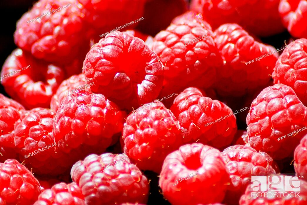 Stock Photo: Close-up on sweet pink colored raspberries.