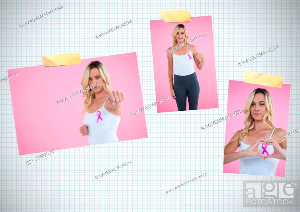 Stock Photo: Breast Cancer Awareness Photo Collage with woman.