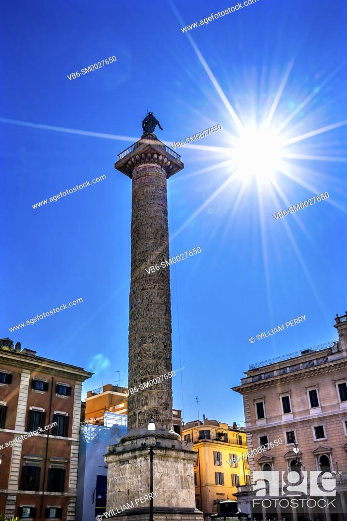 Stock Photo: Ancient Emperor Marcus Aurelius Column Sun Star Rome Italy. Column erected in 193 AD to commemorate Emperor's victory in military campaigns.
