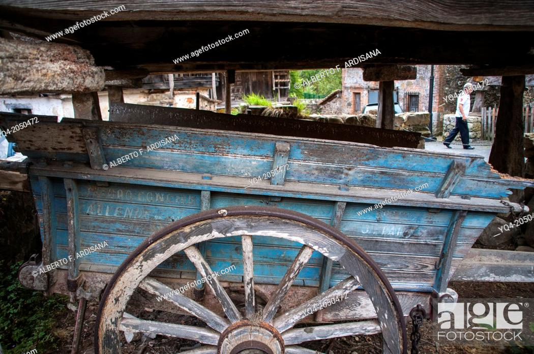 Stock Photo: Old wooden cart under a granary. Llanes. Asturias. Spain.
