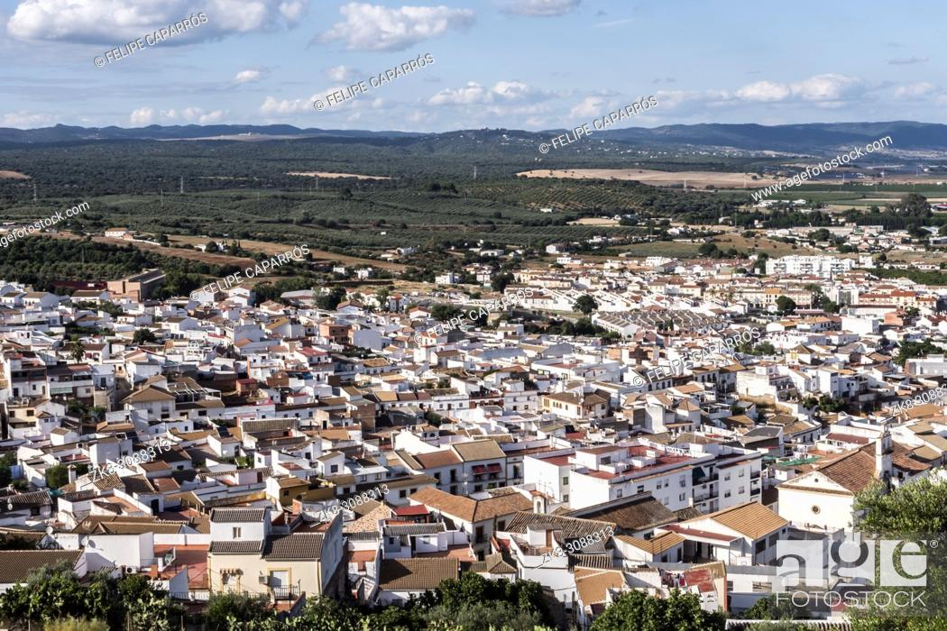 """Stock Photo: View from the castle town of Almodovar del Rio, a Stage of the American producer HBO, for the series """"""""Game of Thrones""""""""."""