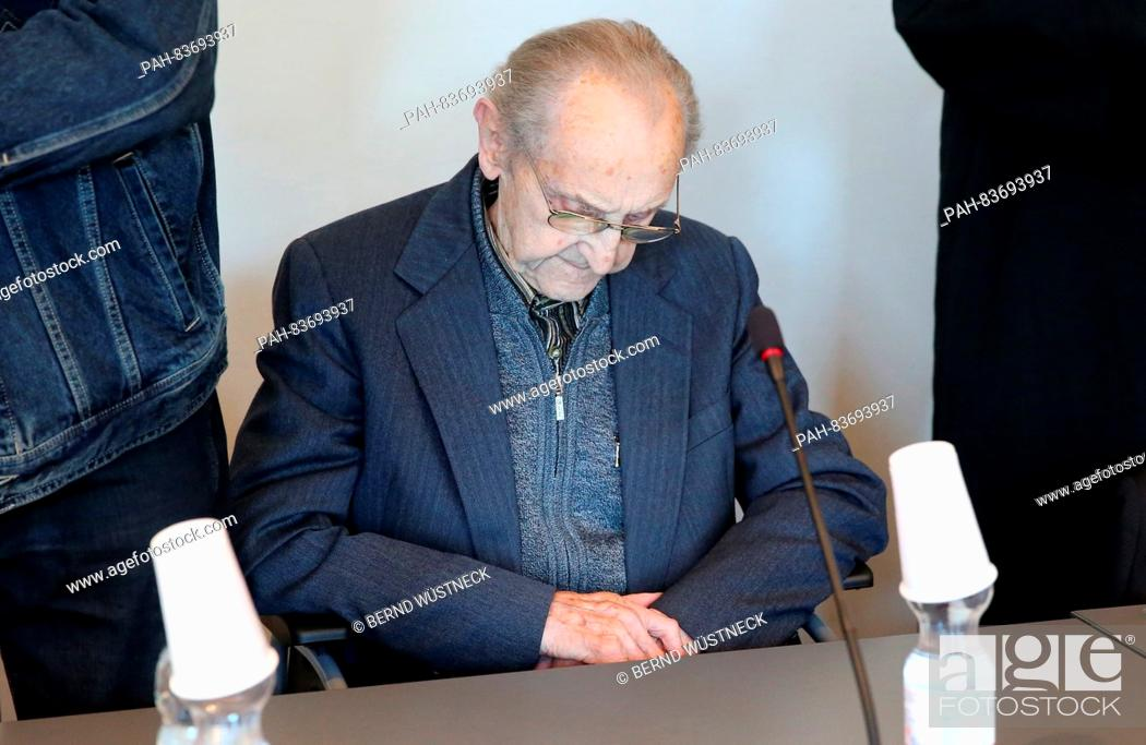 Stock Photo: Ahead of the trial against the former SS medic Hubert Z. 71 years after the end of WW2, the 95-year-old defendant waits in a wheelchair in the courtroom of the.