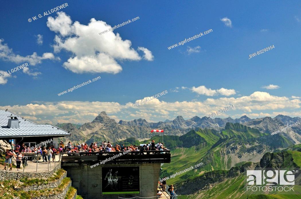 Stock Photo: tourists at mountain station of Nebelhornbahn at Nebelhorn 2224 m, Hochvogel 2592 m in the background, Germany, Bavaria, Allgaeu Alps.