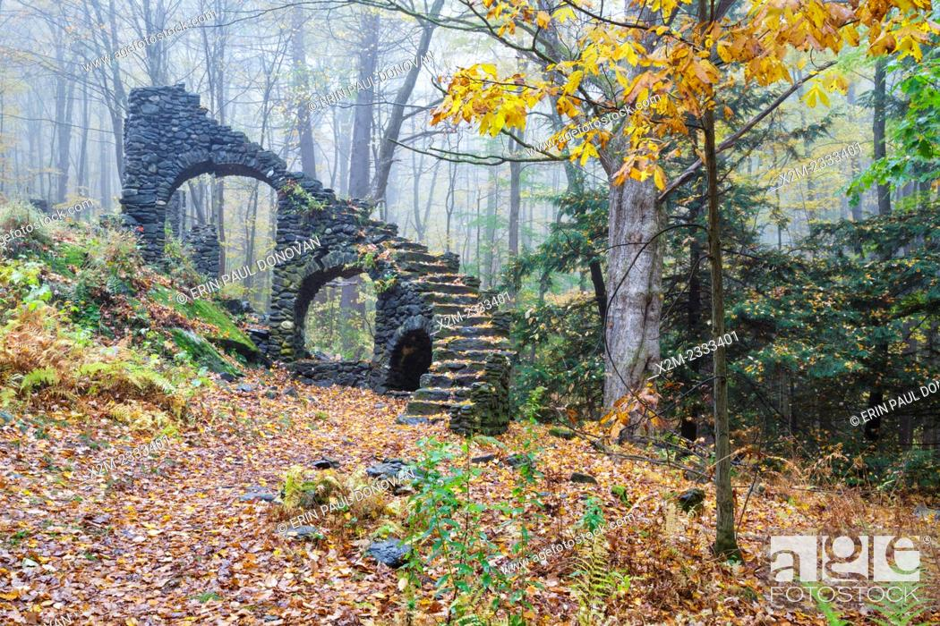 Stock Photo: Madame Antoinette Sherri's castle ruins in Madame Sherri Forest of Chesterfield, New Hampshire USA during the autumn months.