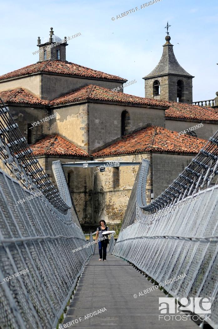 Stock Photo: View of the Church of Cangas de Narcea from the suspension bridge, Asturias, Spain.