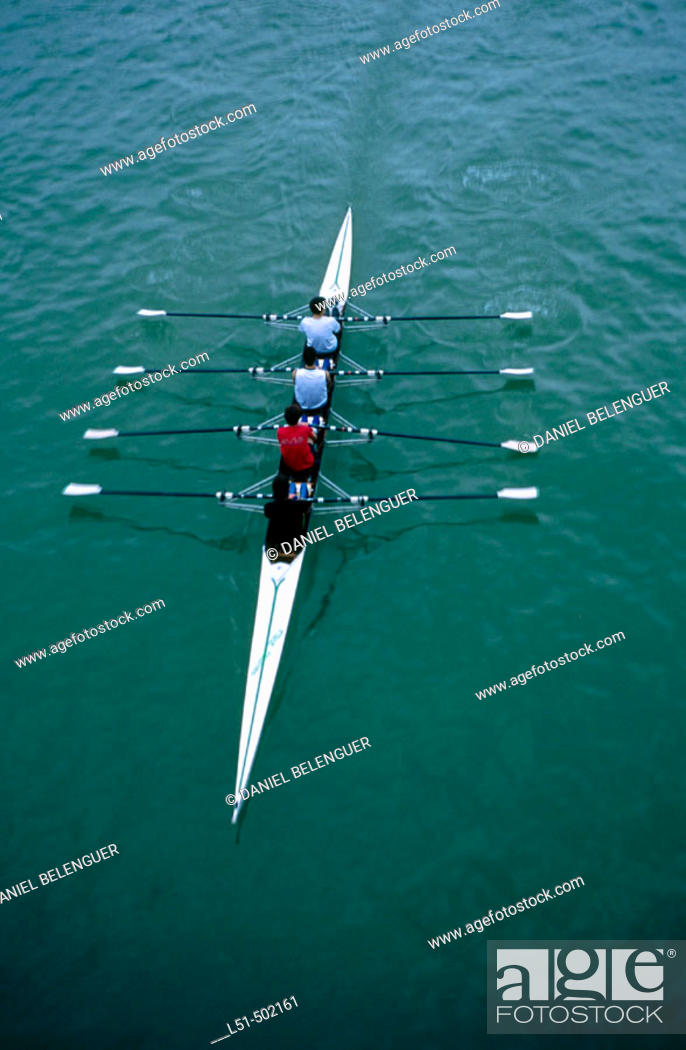 Stock Photo: Oarsmen. Guadalquivir river. Sevilla. Andalucia. Spain.