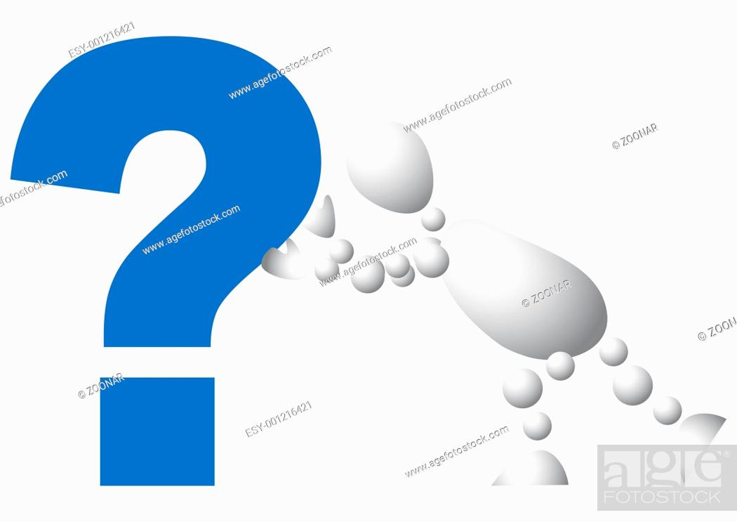 Stock Photo: Man pushes a blue question mark.