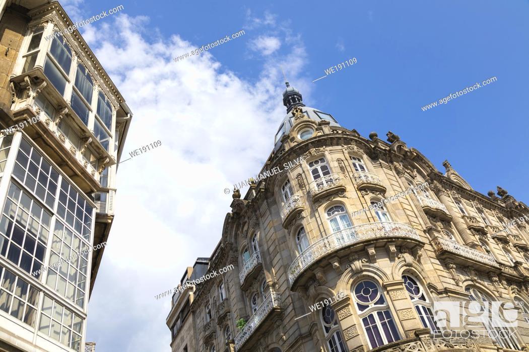Stock Photo: Office buildings in downtown Vigo, Galicia, Spain.