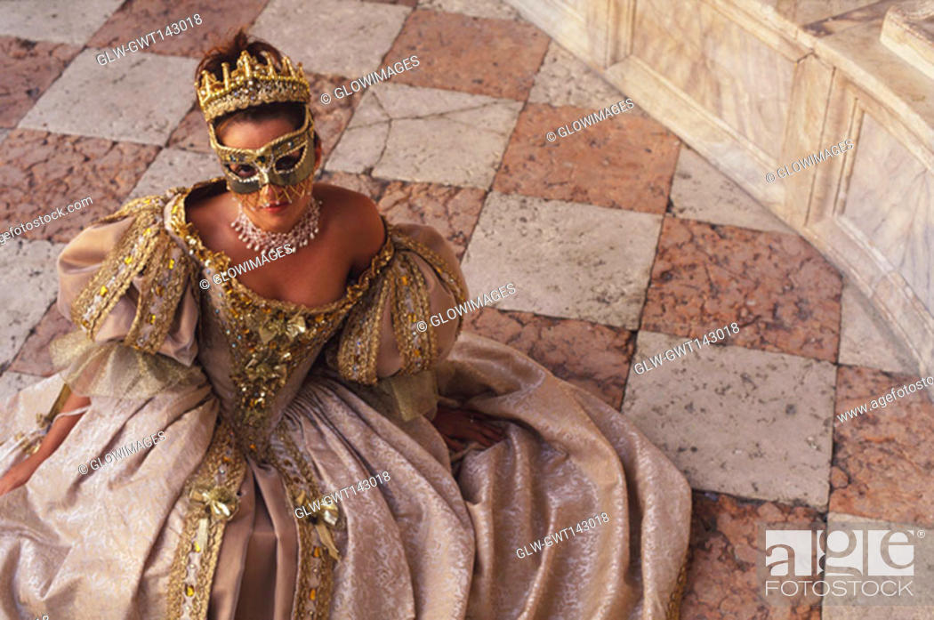 Stock Photo: High angle view of a young woman in traditional clothing, Venice, Veneto, Italy.