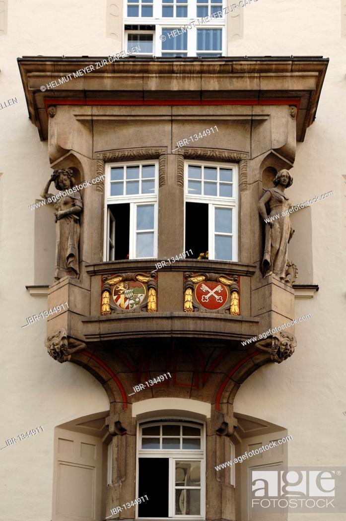 Stock Photo: Decorative old bay window, around 1900, with figures, Maximilianstrasse 10, Regensburg, Upper Palatinate, Bavaria, Germany, Europe.