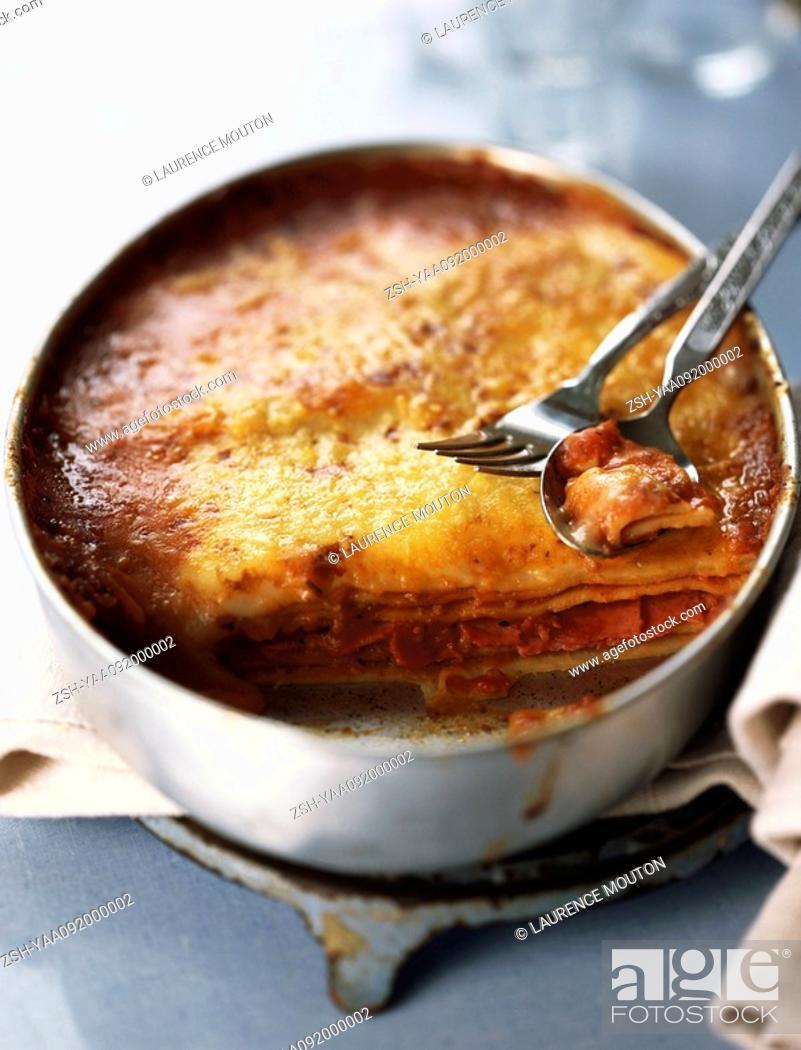 Stock Photo: Freshly baked lasagna.