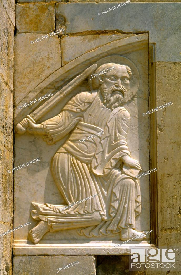Stock Photo: Maguelone France Languedoc-Roussillon Cathedral Saint Pierre De Maguelone Detail Of St Paul On Portal On West Front Of The Cathedral.