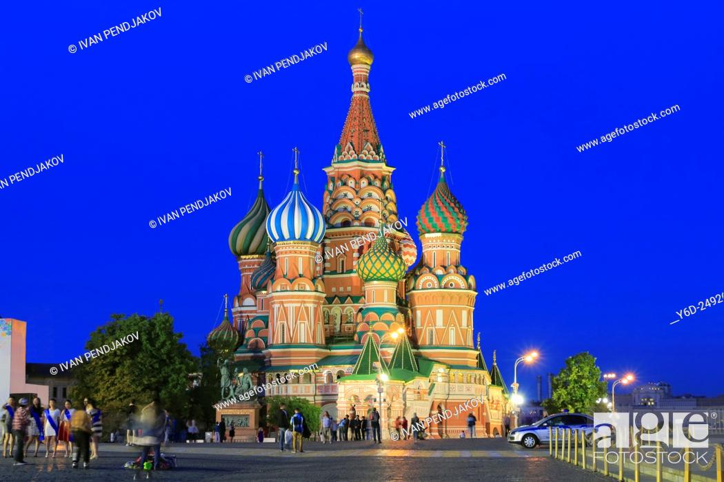 Photo de stock: Saint Basil's Cathedral at Dusk, Red Square, Moscow, Russia.