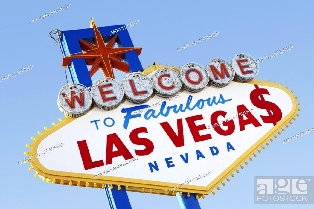 Stock Photo: Las Vegas Welcome Road Sign.