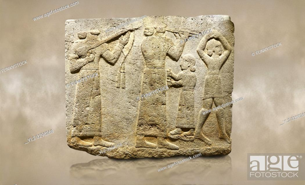 Stock Photo: Photo of Hittite monumental relief sculpted orthostat stone panel of Procession. Limestone, Karkamıs, (Kargamıs), Carchemish (Karkemish), 900-700 B.