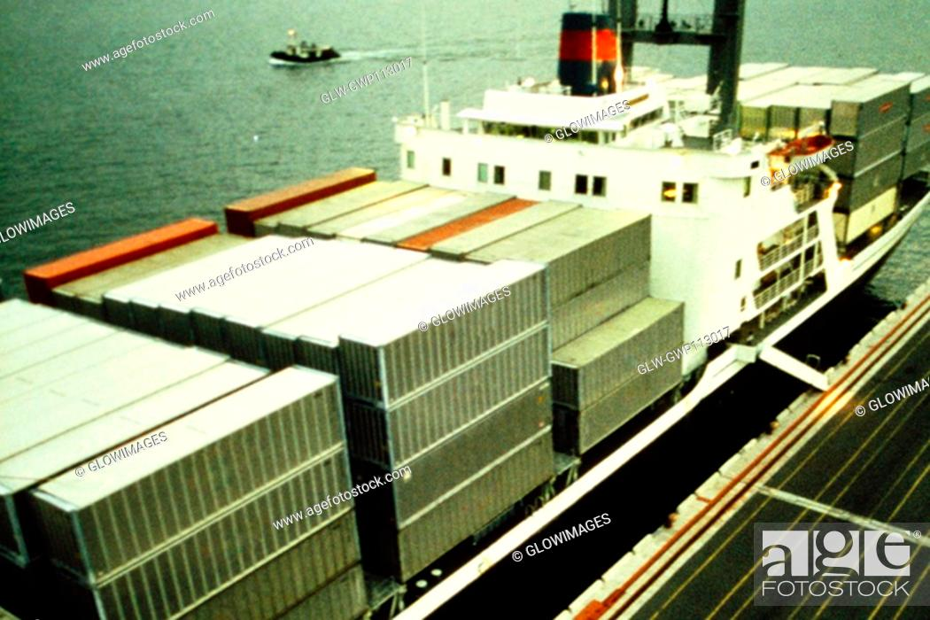 Stock Photo: Containers on a ship at a port, Hong Kong, China.