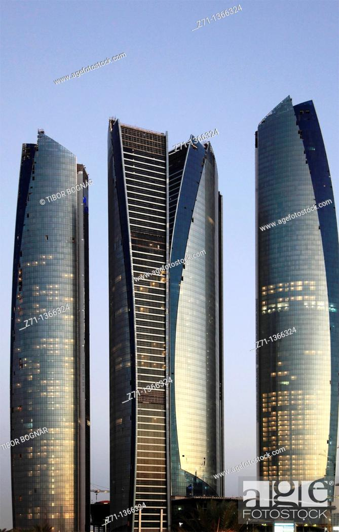 Stock Photo: United Arab Emirates, Abu Dhabi, Etihad Towers,.