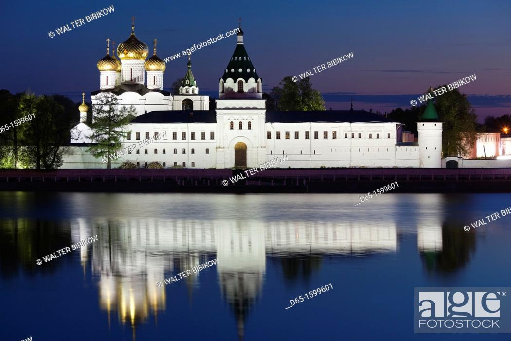 Stock Photo: Russia, Kostroma Oblast, Golden Ring, Kostroma, Monastery of Saint Ipaty and Kostroma River, evening.