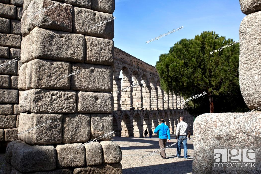 Stock Photo: View of the Aqueduct of Segovia.