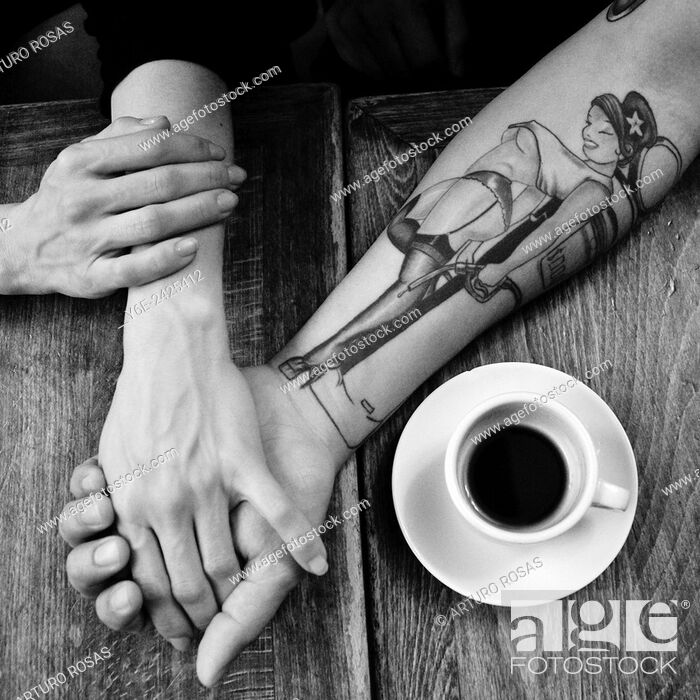 Stock Photo: Hands and coffee.