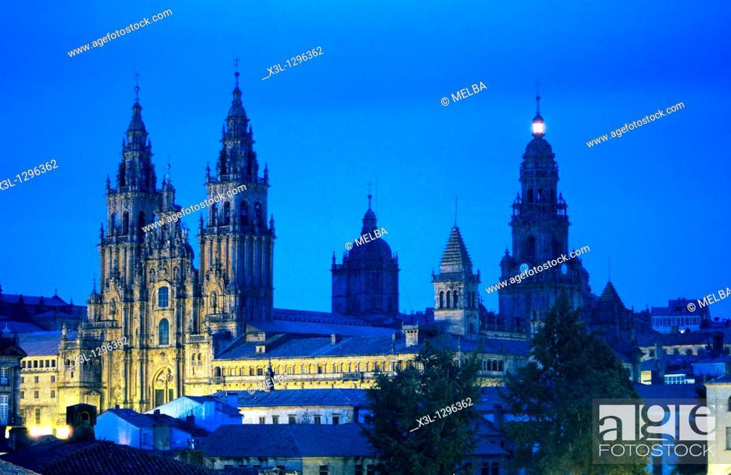 Stock Photo: Cathedral of Santiago de Compostela, La Coruña province, Galicia, Spain.