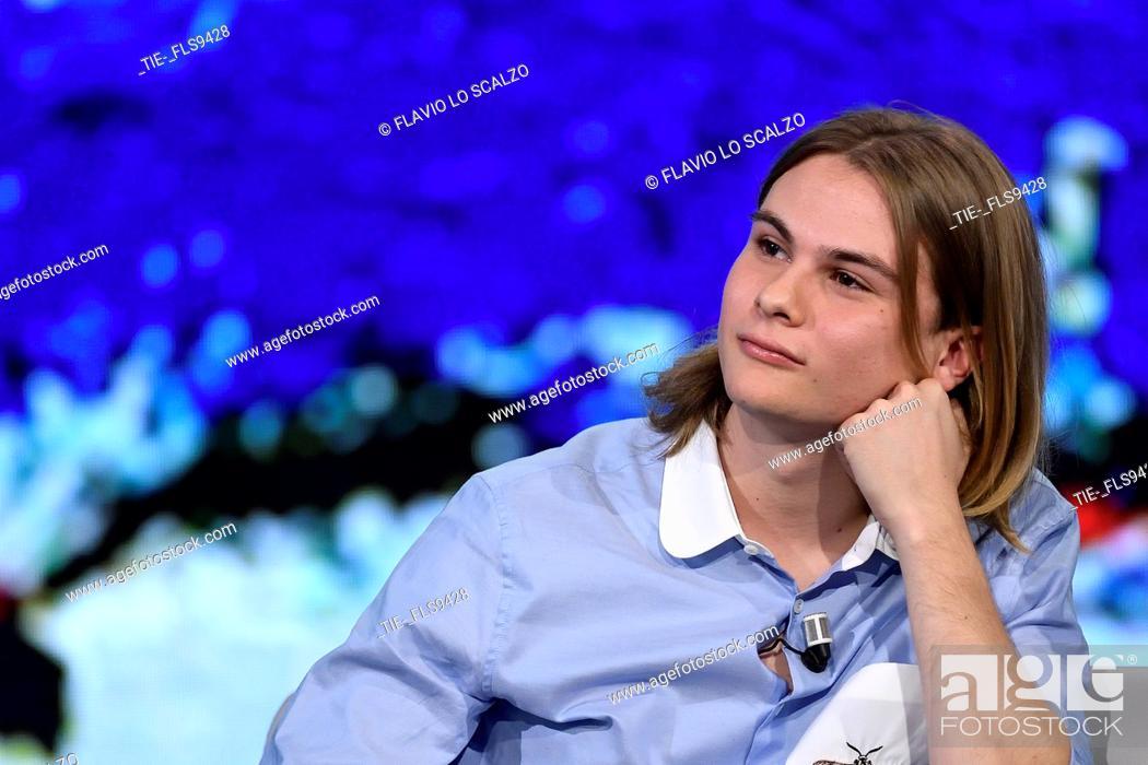 Imagen: Giulio Pranno during the tv show Che tempo che fa, Milan, ITALY-20-10-2019.