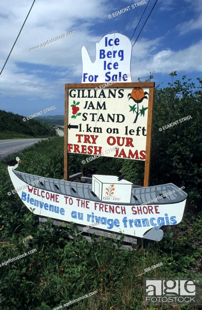 Stock Photo: Hand painted advertisement sign for jam at Gunner's Cove, Newfoundland.
