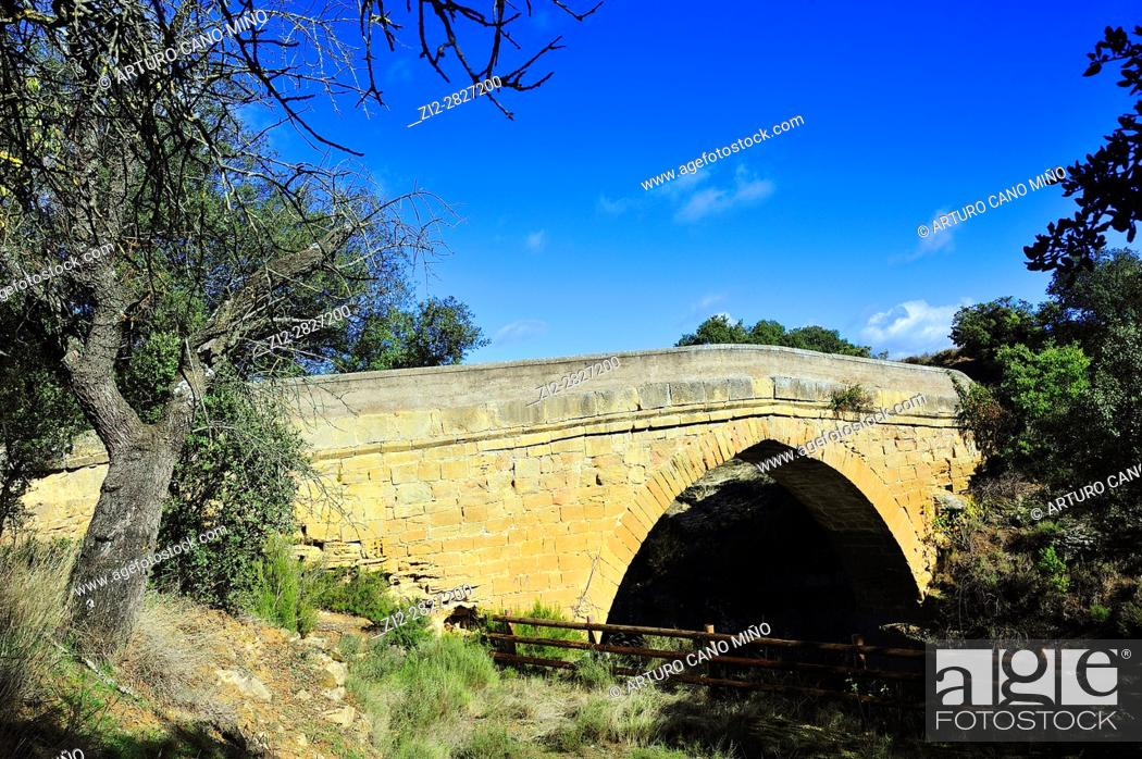 Stock Photo: The medieval bridge over the river Guatizalema. Sipán, Huesca province, Aragon, Spain.