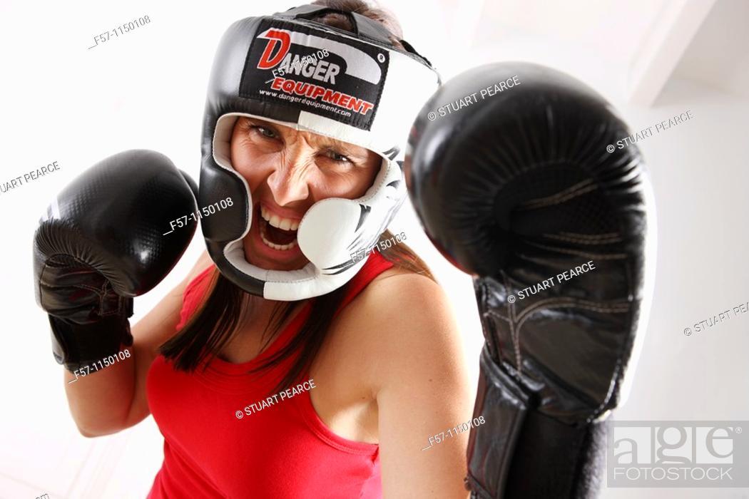 Stock Photo: Female boxer.