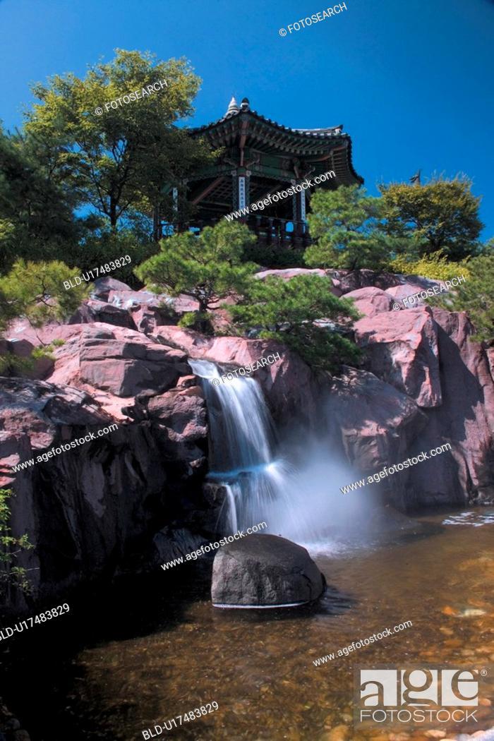 Stock Photo: scenery, nature, waterfall, landscape, rock.