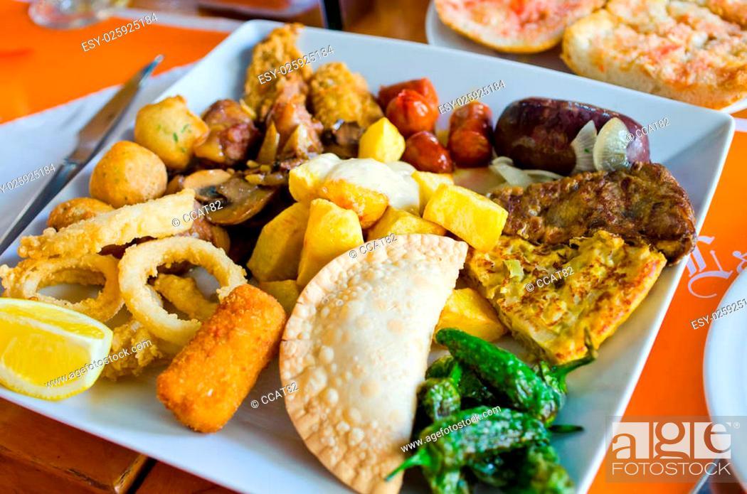 Stock Photo: Variety of typical spanish tapas.