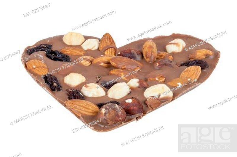Stock Photo: Heart shaped chocolate with nuts on white background.