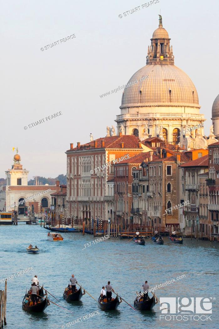 Stock Photo: Gondolas on the Grand Canal in Venice, Italy.