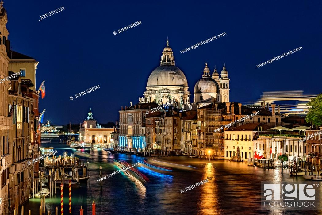 Stock Photo: View of the Grand Canal at night, Venice, Italy.