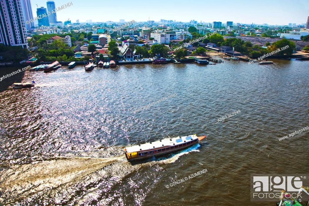 Stock Photo: Mae Nam Chao Phraya river  Bangkok  Thailand  Asia.