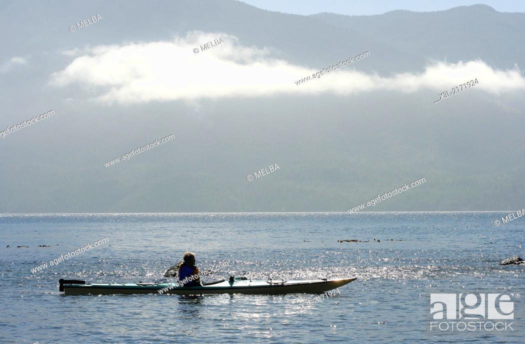 Stock Photo: Kayaking in Johnstone strait. Vancouver island. British Columbia. Canada.