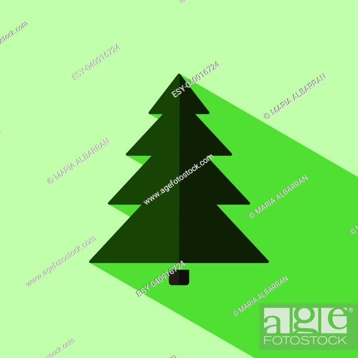 Vector: Christmas tree icon with shade. Color vector illustration.