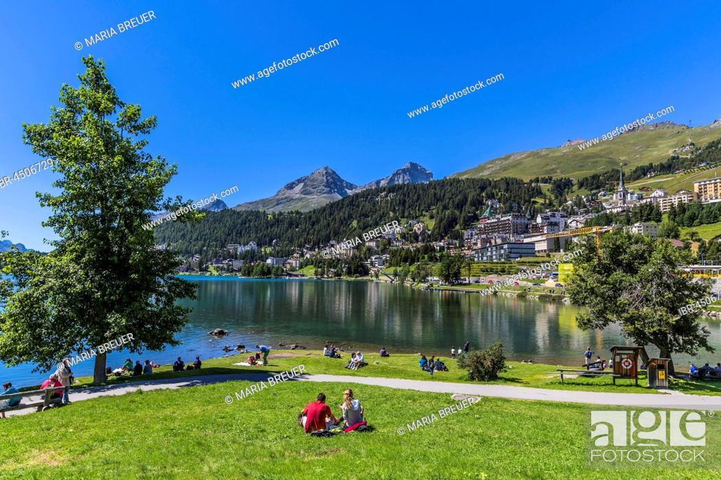 Stock Photo: St. Moritz at Lake St. Moritz, Piz Julier at back, Piz Nair, Corviglia, Upper Engadin, Engadin, Maloja region, Canton of Grisons, Switzerland.